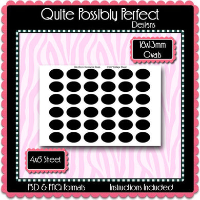 18x13mm Ovals Template Instant Download PSD and PNG Formats (Temp35) Digital Bottlecap Collage Sheet Template