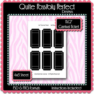 "1x2"" Carnival Ticket Template Instant Download PSD and PNG Formats (Temp87) Digital Bottlecap Collage Sheet Template"