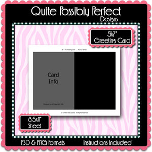 "5x7"" Greeting Card Template Instant Download PSD and PNG Formats (Temp95) Digital Bottlecap Collage Sheet Template"