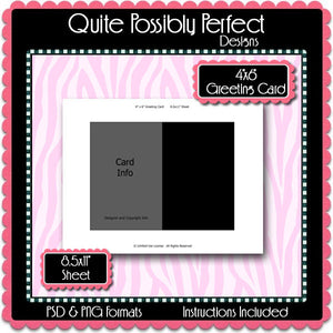 "4x6"" Greeting Card Template Instant Download PSD and PNG Formats (Temp96) Digital Bottlecap Collage Sheet Template"