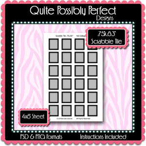 Scrabble Tile Template w/Faded Edge Instant Download PSD and PNG Formats (Temp99) Digital Bottlecap Collage Sheet Template