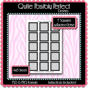 "1"" Squares Template w/Faded Edge Instant Download PSD and PNG Formats (Temp81) Digital Bottlecap Collage Sheet Template"