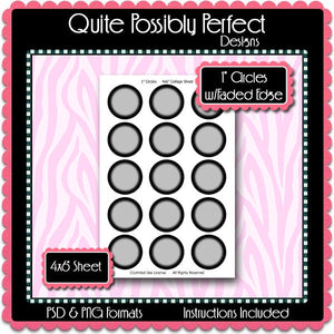 "1"" Circles Template w/Faded Edge Instant Download PSD and PNG Formats (Temp80) Digital Bottlecap Collage Sheet Template"