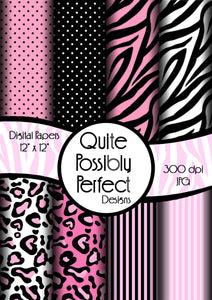 Pink Girly Zebra Digital Paper Pack Instant Download (DGP102) Zebra Leopard Dots for Scrapbooking, Collage Sheets,Greeting Cards, Bottle Cap