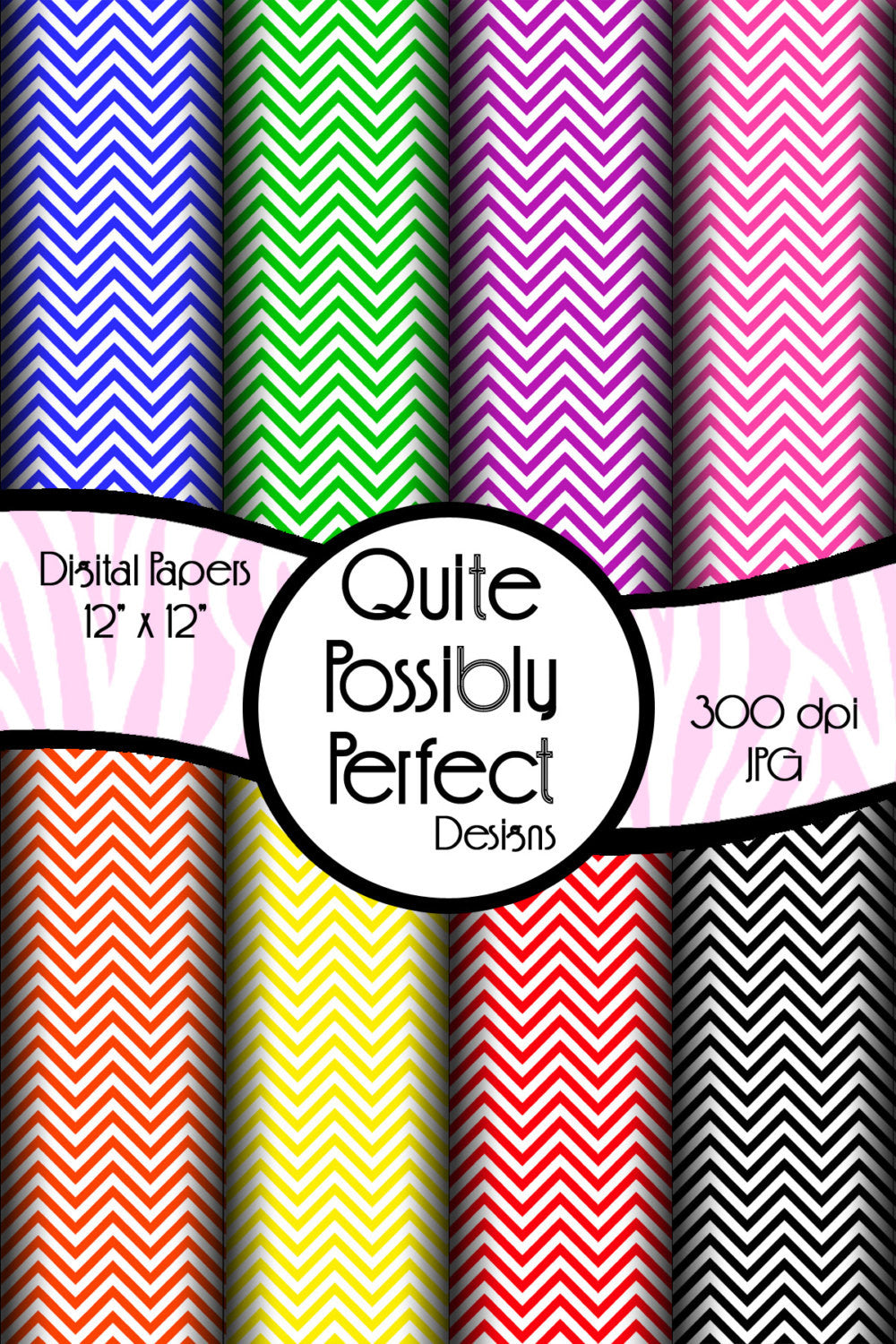 Chevron Digital Paper Pack Instant Download (DGP104) Digital Paper for Scrapbooking, Collage Sheets,Greeting Cards, Bottle Caps