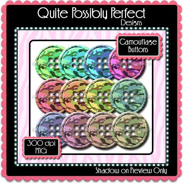 Digital Camouflage Button Elements Instant Download (C101)  for Scrapbooking, Collage Sheets,Greeting Cards, Bottle Caps
