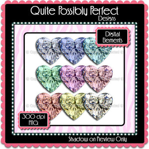 Digital Diamond Hearts Elements Instant Download (C103)  for Scrapbooking, Collage Sheets,Greeting Cards, Bottle Caps