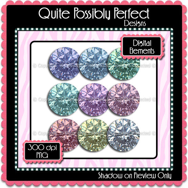 Digital Diamond Rounds Elements Instant Download (C104)  for Scrapbooking, Collage Sheets,Greeting Cards, Bottle Caps