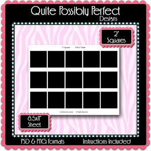 "2"" Squares Template Instant Download PSD and PNG Formats (Temp287) Digital Bottlecap Collage Sheet Template"