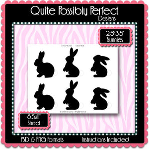 "2.5-3.5"" Bunnies Label Template Instant Download PSD and PNG Formats (Temp293) Digital Bottle Cap Collage Sheet Template"