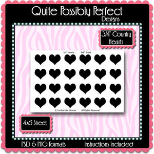 "3/4"" Hearts Template Instant Download PSD and PNG Formats (Temp297) Digital Bottle Cap Collage Sheet Template"