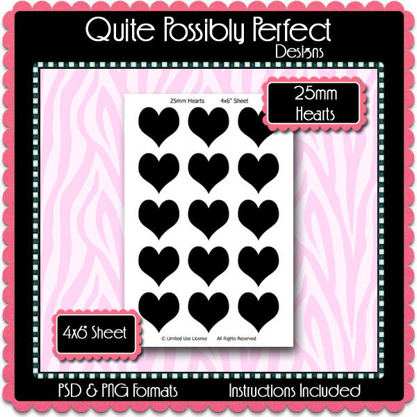 25mm Hearts Template Instant Download PSD and PNG Formats (Temp267) Digital Bottlecap Collage Sheet Template