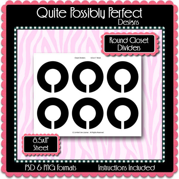 Round Closet Dividers Template Instant Download PSD and PNG Formats (Temp271) Digital Bottlecap Collage Sheet Template