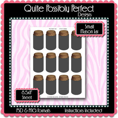 Small Mason Jar Template Instant Download PSD and PNG Formats (Temp399) Digital Bottlecap Collage Sheet Template
