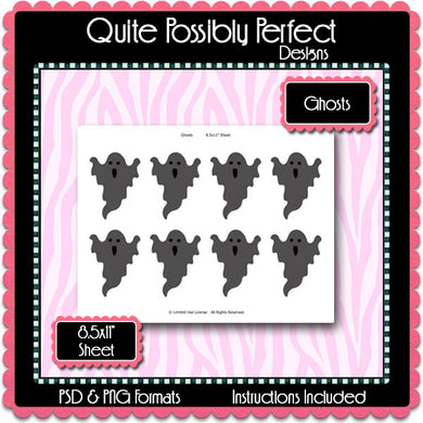 Ghosts Template Instant Download PSD and PNG Formats (Temp257) Digital Bottlecap Collage Sheet Template