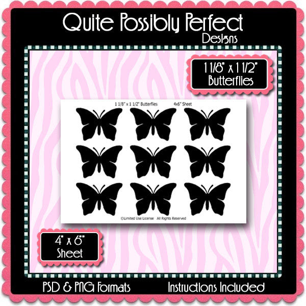 Small Butterflies Template Instant Download PSD and PNG Formats (Temp255) Digital Bottlecap Collage Sheet Template