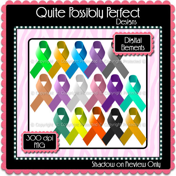 Digital Awareness Ribbon Elements Instant Download (C106)  for Scrapbooking, Clipart ,Greeting Cards, Bottle Caps
