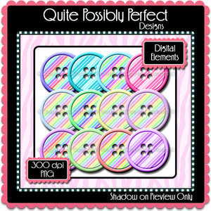 Digital Rainbow Button Elements Instant Download (C109)  for Scrapbooking, Collage Sheets,Greeting Cards, Bottle Caps