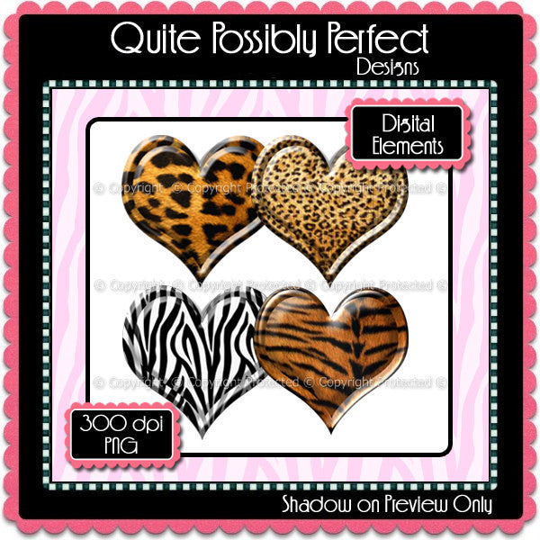 Digital Animal Print Puffy Heart Elements Instant Download (C111)  for Scrapbooking, Collage Sheets,Greeting Cards, Bottle Caps