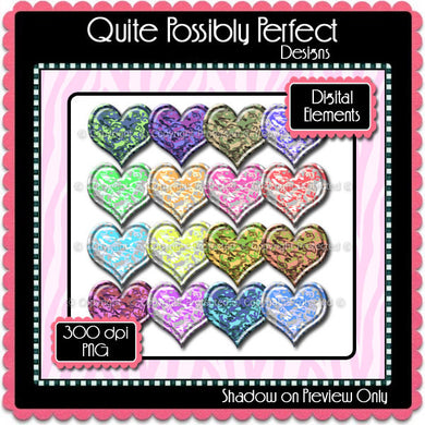 Digital Camouflage Puffy Heart Elements Instant Download (C112)  for Scrapbooking, Collage Sheets,Greeting Cards, Bottle Caps