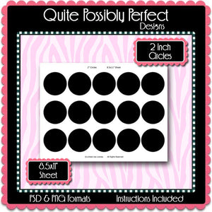 "2"" Circles Template Instant Download PSD, PNG and Word Formats (Temp272) 2 Inch Circles Digital Bottlecap Collage Sheet Template"