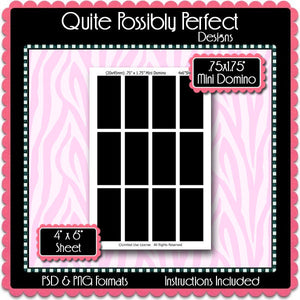 "3/4"" x 1 3/4"" Mini Domino Template Instant Download PSD and PNG Formats (Temp249) Domino Digital Bottlecap Collage Sheet Template"