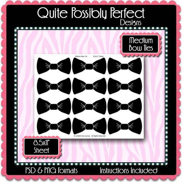 Medium Bow Tie Template Instant Download PSD and PNG Formats (Temp244) Bow Tie Digital Bottlecap Collage Sheet Template