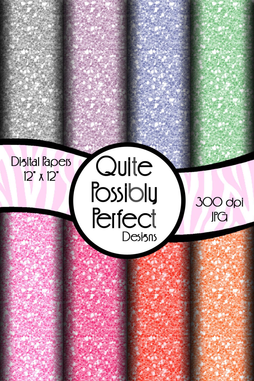 Pastel Large Glitter Papers Digital Paper Pack Instant Download (DGP108) for Scrapbooking, Collage Sheets,Greeting Cards, Bottle Caps
