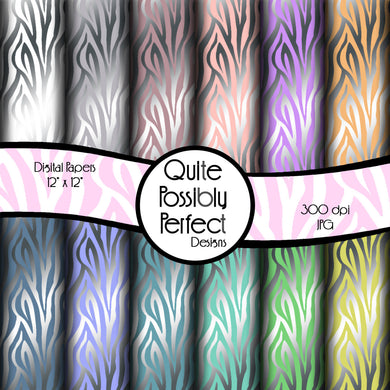Metallic Zebra Digital Paper Pack Instant Download (DGP110) for Scrapbooking, Collage Sheets,Greeting Cards, Bottle Caps