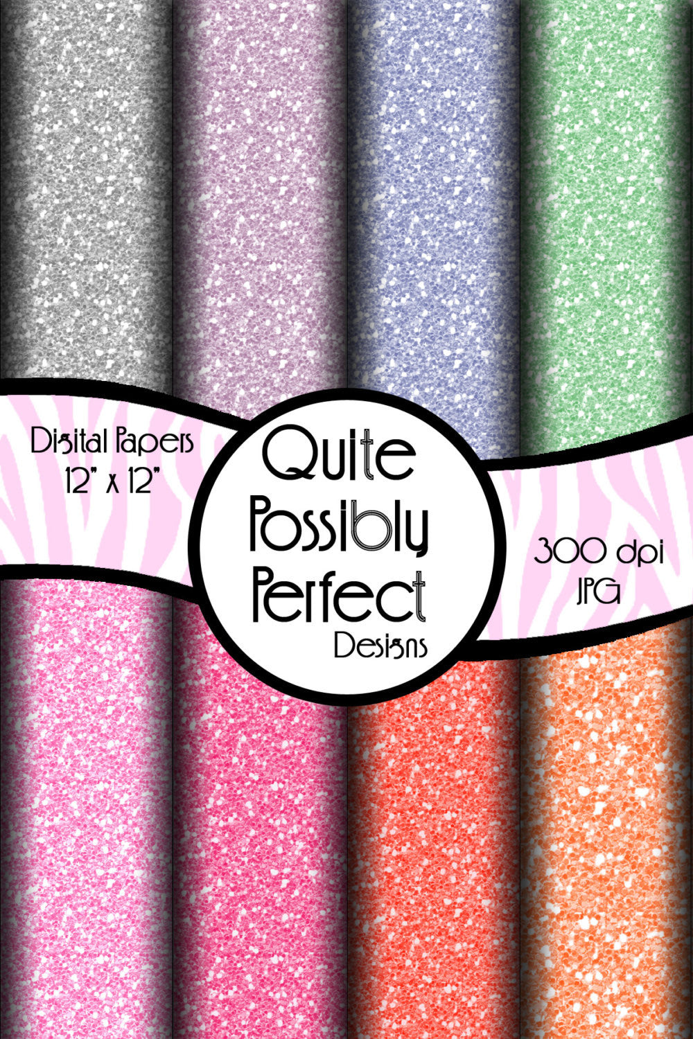 Pastel Medium Glitter Papers Digital Paper Pack Instant Download (DGP107) for Scrapbooking, Collage Sheets,Greeting Cards, Bottle Caps