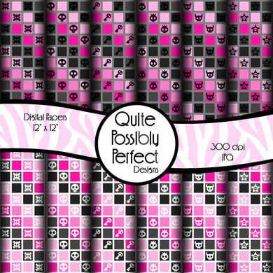 Skull Squares Digital Paper Pack Instant Download (DGP111) for Scrapbooking, Collage Sheets,Greeting Cards, Bottle Caps
