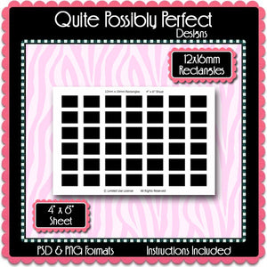 12x16mm Rectangles Instant Download PSD and PNG Formats (Temp311) Digital Bottlecap Collage Sheet Template