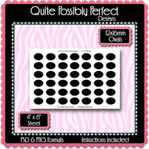 12x16mm Ovals Instant Download PSD and PNG Formats (Temp231) Digital Bottlecap Collage Sheet Template