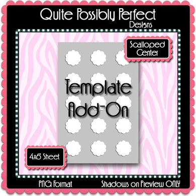 Bottle Cap Template Add-On Scalloped Circle Centers - Instant Download - PNG Format (TAO6) Digital Bottlecap Collage Sheet Designer Tools