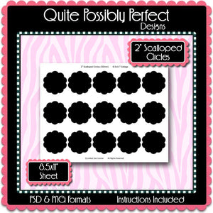 "2"" Scalloped Circles Template Instant Download PSD and PNG Formats (Temp371) 8.5x11"" Digital Bottle Cap Collage Sheet Template"