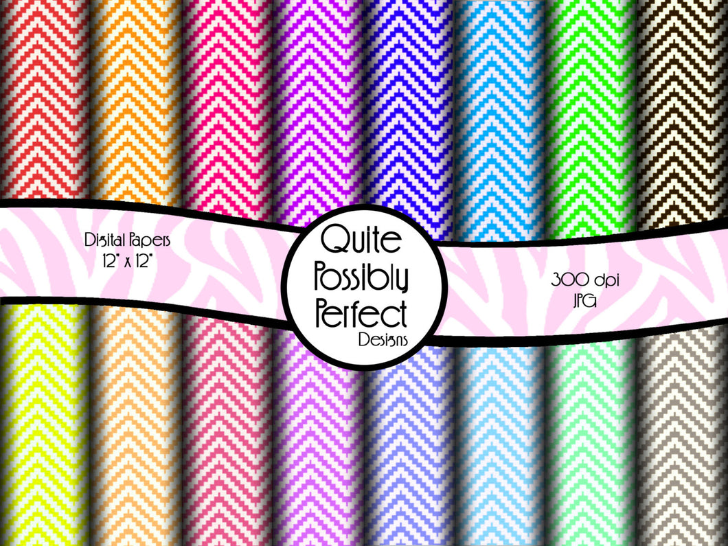 Chevron Digital Paper Pack Instant Download (DGP114) Digital Paper for Scrapbooking, Collage Sheets,Greeting Cards, Bottle Caps