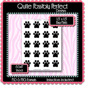 "1.5x1.5"" Paw Prints Template Instant Download PSD and PNG Formats (Temp425) 8.5x11"" Digital Bottle Cap Collage Sheet Template"