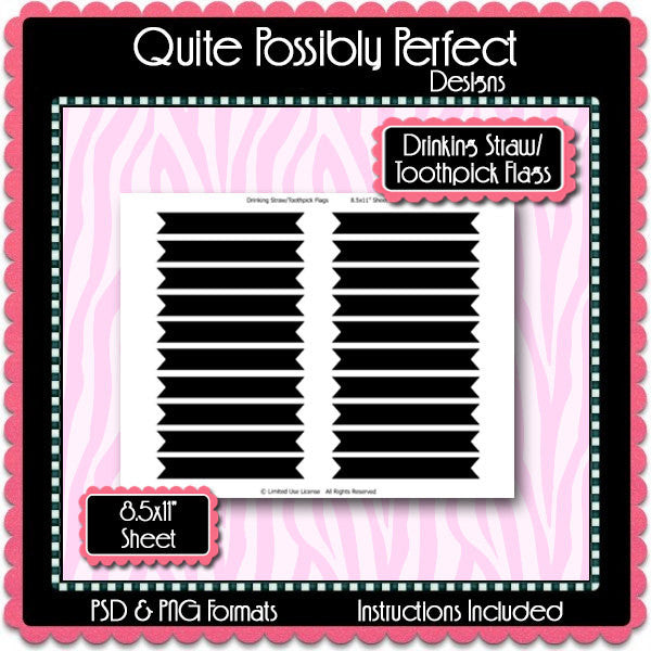 Drinking Straw/Toothpick Flag Template Instant Download PSD and PNG Formats (Temp445) 8.5x11