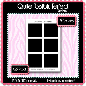 "1.5"" Squares Template Instant Download PSD and PNG Formats (Temp378) 4x6"" Digital Bottle Cap Collage Sheet Template"
