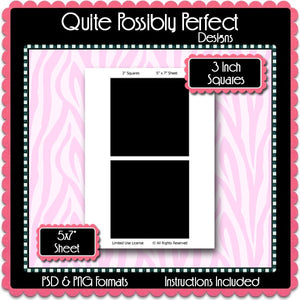 3 Inch Squares Instant Download PSD and PNG Formats (Temp452) Digital Bottlecap Collage Sheet Template
