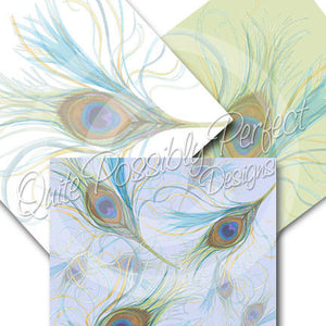 Peacock Feather Digital Paper Pack Instant Download (DGP120) Peacock Feathers for Scrapbooking, Collage Sheets,Greeting Cards, Bottle Cap