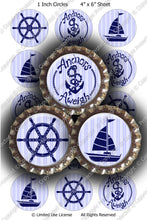 Digital Bottle Cap Images - Nautical Silhouettes Collage Sheet (ETR101) 1 Inch Circles for Bottlecaps, Magnets, Jewelry, Hairbows, Buttons