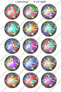 Digital Bottle Cap Images - Marble Magic Collage Sheet (ETR102) 1 Inch Circles for Bottlecaps, Magnets, Jewelry, Hairbows, Buttons