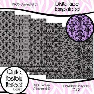Damask Digital Paper Template - Damask Set 2 (PT108) CU Layered Overlay for Creating Your Own Digital Papers Commercial Use OK
