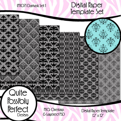 Damask Digital Paper Template - Damask Set 1 (PT107) CU Layered Overlay for Creating Your Own Digital Papers Commercial Use OK