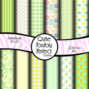 New Baby Digital Paper Pack Instant Download (DGP128) Baby Girl or Baby Boy for Scrapbooking, Collage Sheets,Greeting Cards, Bottle Cap