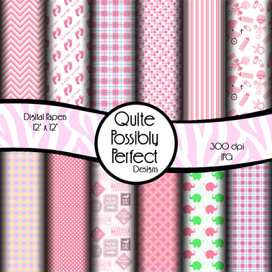 Baby Girl Digital Paper Pack Instant Download (DGP126) Baby Girl for Scrapbooking, Collage Sheets,Greeting Cards, Bottle Cap