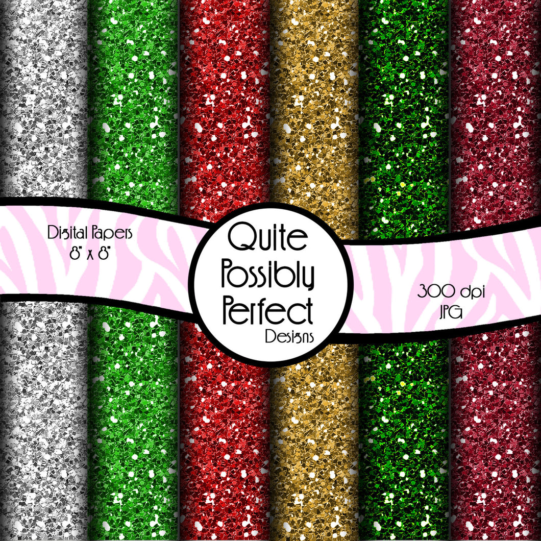 Christmas Glitter Papers Digital Paper Pack Instant Download (DGP129) for Scrapbooking, Collage Sheets,Greeting Cards, Bottle Caps