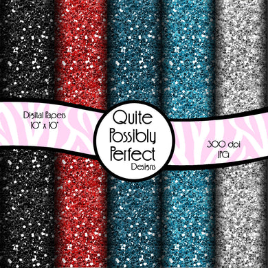 Red and Blue Glitter Papers Digital Paper Pack Instant Download (DGP131) for Scrapbooking, Collage Sheets,Greeting Cards, Bottle Caps