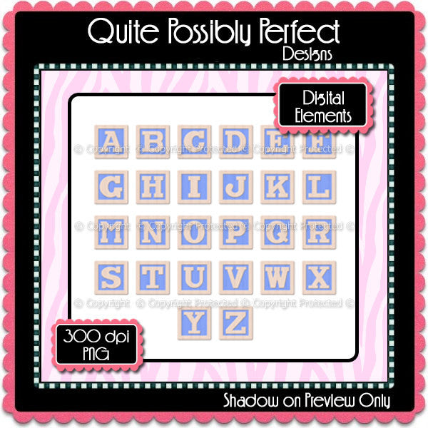 Blue Baby Blocks Alphabet Instant Download (CA106) Upper Case Letters for Scrapbooking, Collage Sheets,Greeting Cards, Bottle Caps